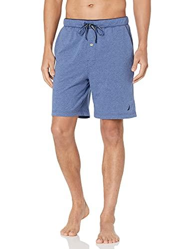 Nautica Men s Soft Knit Elastic Waistband Sleep Lounge Short, Blue Indigo Heather, X-Large