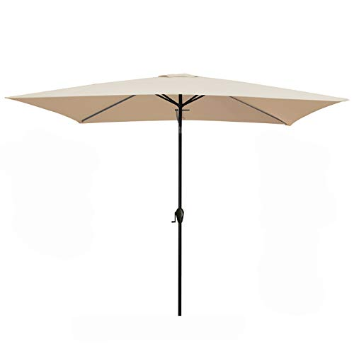 MEWAY Rectangular Patio Table Umbrella Garden Umbrella with Tilt and Crank for Commercial Event Market, Garden, Deck,Backyard,Pool and Patio Table (6.6 * 10 ft, Beige)