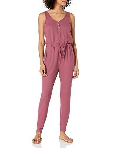 Lucky Brand Women's Sleeveless Button Neck Cloud Jersey Jumpsuit, Crushed Berry, XS
