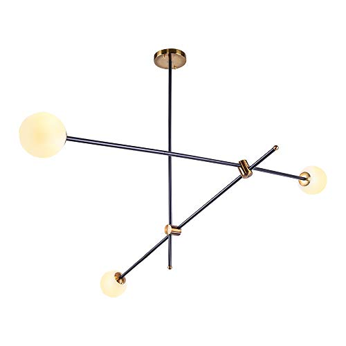 OYIPRO Modern Kronleuchter Kreative Deckenleuchter 3-Flammig Pendelleuchte Glas Lampenschirm G9 Lampenfassung Metall Dekoration für Wohnzimmer Schlafzimmer Flur Büro Shop