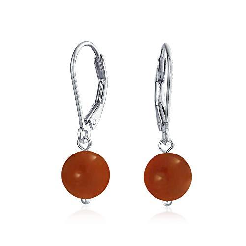 Einfache Schlichte Edelstein Gefärbt Rot Natürliche Karneol Ball Runde Tropfen Baumeln Ohrringe Für Frauen 925 Sterling Silber