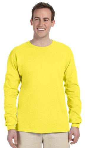 Fruit of the Loom Adult 5 oz. Long-Sleeve T-Shirt, YELLOW, 3XL