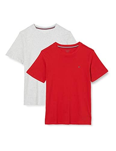 Tommy Hilfiger 2-Pack Short Sleeve Camiseta, Niños, Multicolor (Medium Grey Heather/Primary Red),...
