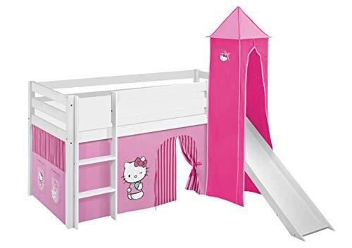 Lilokids Spielbett Jelle Hello Kitty, Hochbett mit Turm, Rutsche und Vorhang Kinderbett, Holz, rosa, 208 x 98 x 113 cm