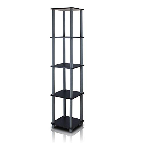 Furinno Viereckiges Regal mit 5 Ebenen, schwarz/grau, 29.46 x 29.46 x 146.56 cm