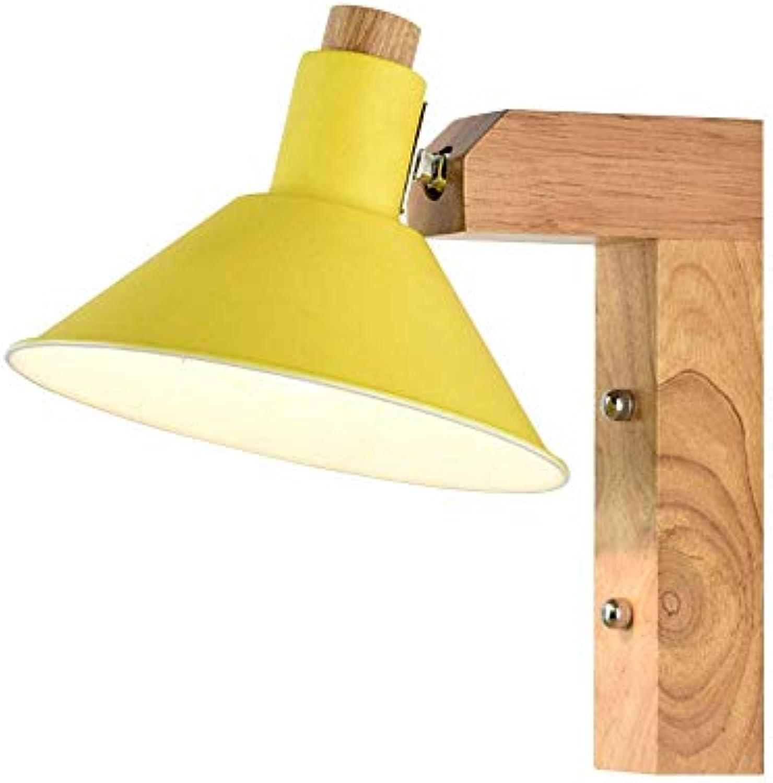 Moderne E27 Wandleuchte,Gelb Metall und Holz Holz Holz ...