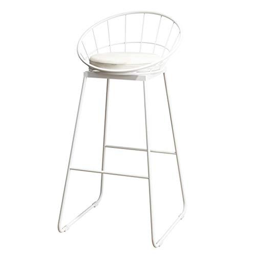 ZRXian-Tabourets Mode Fer Forgé Support Tabouret Cuisine Tabouret De Petit Déjeuner Chaise Avec Dossier Blanc Pattes De Support Design Éponge Blanche (Hauteur Assise: 65 / 75CM) (taille : 75cm)