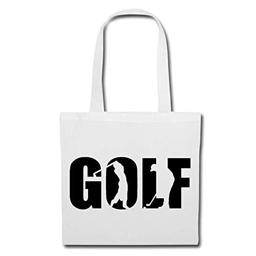 Tasche Umhängetasche Golf - Golfspieler - GOLFCLUB - GOLFUNTERRICHT - GOLFPLATZ Einkaufstasche Schulbeutel Turnbeutel in Weiß