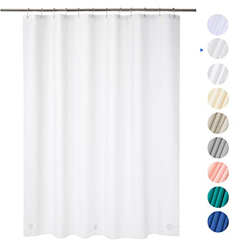AmazerBath Plastic Shower Curtain, 72' x 72' Frosted EVA 8G Thick Bathroom Shower Curtains Eco-Friendly with Heavy Duty Stones and 12 Rust-Resistant Grommet Holes