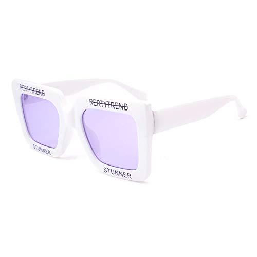 Sebasty Gafas de sol cuadradas grandes de plástico blanco para mujer, con letra personalizada, protección UV400, tendencia a la moda (color: púrpura)