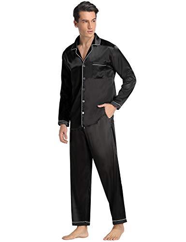 Aibrou Herren Satin Pyjama Set, Zweiteiliger Bedruckt Schlafanzug Langarm Shirt und Pyjamahose ((Satin) Schwarz, XXL)