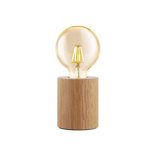 EGLO Lámpara de mesa Turialdo, 1 lámpara de mesa industrial vintage, moderna, lámpara de noche de madera y acero, lámpara de salón en naturaleza, negro, lámpara con interruptor, casquillo E27