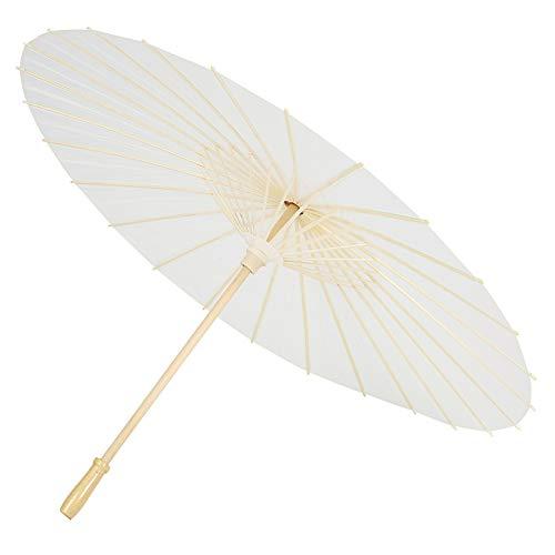 Papierschirm, Reines Papier Regenschirm Sonnenschirm Handgemacht; Reinweiß aus Holz Dekorativ (Weiß)