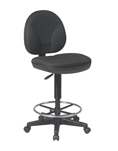 Office Star Sculptured Fabric Seat and Back Pneumatic Drafting Chair with Lumbar Support and Adjustable Chromed Footring, Black