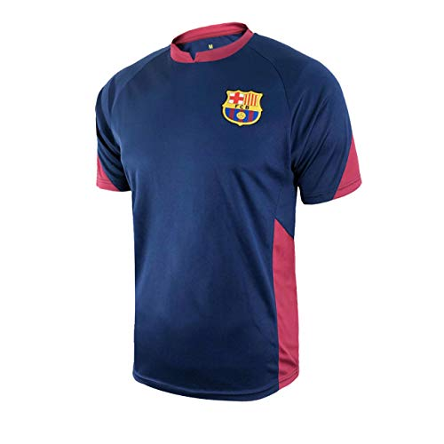 Icon Sports Boys Striker Short Sleeve Game Polyshirt UEFA Champions League Soccer Barcelona, Alternate, Medium