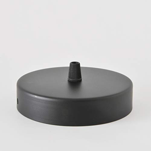 Baldachin | Abzweigdose | Verteilerdose zur Kabelabdeckung Ihrer Deckenlampe | Lampenkappe in Schwarz 1 Loch Ø 12 cm inkl Zugentlastung | Lampenbaldachin für alle Lampen geeignet