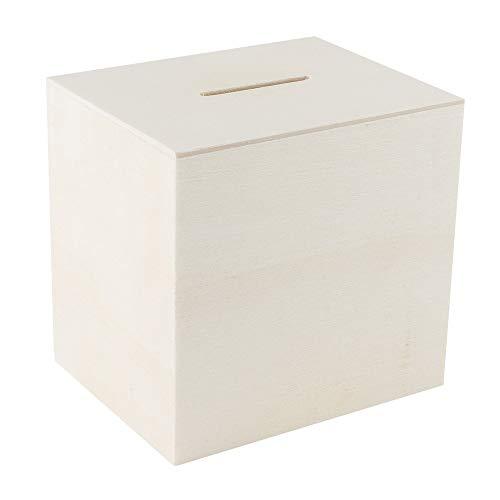 Ideen mit Herz Holz-Spardose | Holzkiste | ideal zum Basteln & Bemalen | 10,2cm x 9,8cm x 8,2cm | mit Kunststoff-Verschluss auf der Unterseite