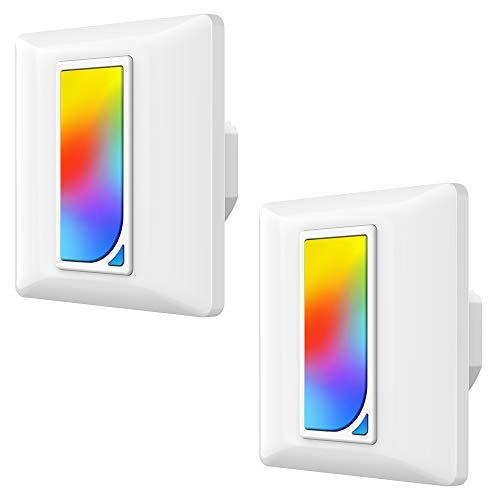Obrecco WiFi Interruptor Inteligente con RGB Luz de Escena, Switch 1600 Colores RGB Luz de Noche Regulador, Control Remoto/Voz, Funciona con Alexa,Google Home,Siri,Temporizador, Red 2.4GHz - 2 PZS