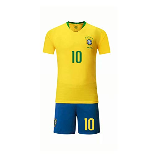 PAOFU-Hombres Equipo de Fútbol Nacional de Brasil Neymar # 10 Fan Football Jersey Set
