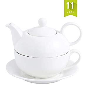 MALACASA Teapot, Porcelain Tea Pot and Tea for One Set,White Teacup and Saucer Set,Teapots Sets for One - (11 Oz Teapot, 8.4 Oz Teacup, 6 Inch Saucer)