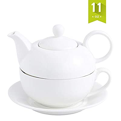 MALACSA Tea Pot,Porcelain Teapot and Tea for One Set