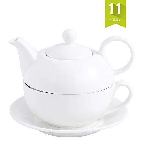 Buy MALACASA Teapot, Porcelain Tea Pot and Tea for One Set,White Teacup and Saucer Set,Teapots Sets ...