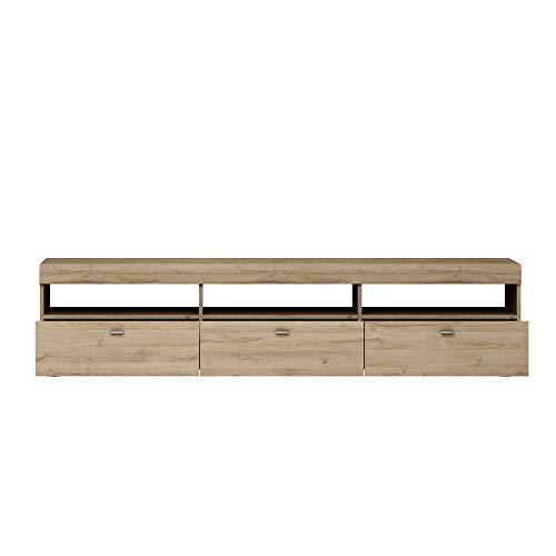 Newfurn TV Lowboard natuur TV kast televisietafel rek board II 182,8x42,5X 46,6 cm (BxHxD) II [Thies.Nine] in Grandson licht eiken / Grandson licht woonkamer slaapkamer