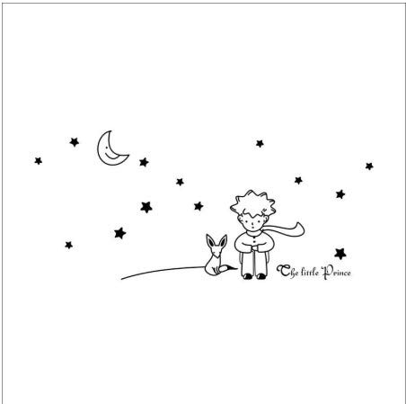 TTBH Le Petit Prince Fox Star Moon Wall Sticker Kids Baby Nursery Room Decor Enfant Cadeau Vinyle Autocollant 8518. décoration Murale Art