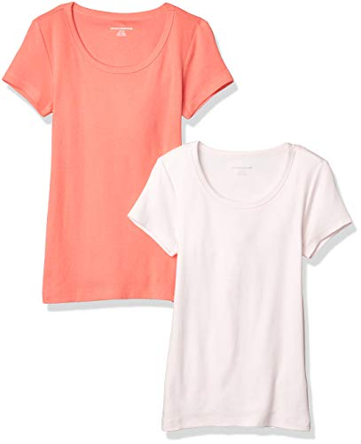 Amazon Essentials 2-Pack Slim-fit Cap-Sleeve Scoopneck fashion-t-shirts, Coral/Light Pink, US M (EU M - L)
