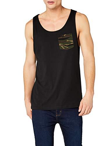 Urban Classics Contrast Pocket Jersey Big Tank Camiseta sin Mangas, Multicolor (blk/woodcamo 565), X-Large para Hombre