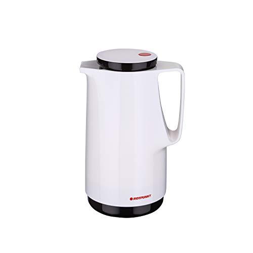 ROTPUNKT Isolierkanne 760 Maxima 1,0 l | Zweifunktions-Drehverschluss | BPA-frei - gesundes Trinken | Made in Germany | Warm + Kalthaltung | Glaseinsatz (Snow)