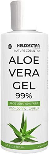 Aloe Vera Gel 100%, aloe vera gel puro e biologico. Per Viso, Corpo e Capelli, per pelli secche e stressate. Idratante, lenitivo, rinfrescante per scottature solari,...