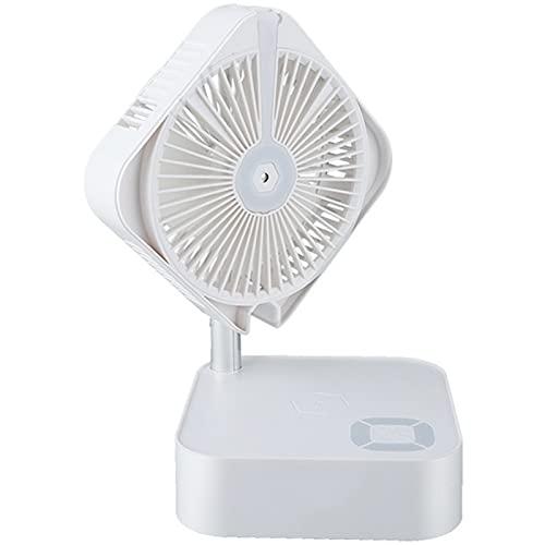 NNZZ Ventilador de PulverizacióN Plegable PortáTil, PequeñO Ventilador de Aire Acondicionado de Escritorio USB, Control de Voz/Control Remoto/BotóN Inteligente, Banco de EnergíA InaláMbrico