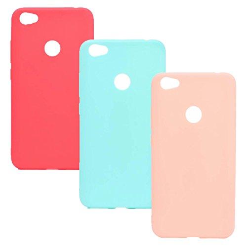 WindTeco 3 × Funda Xiaomi Redmi Note 5A / Redmi Note 5A Prime, Carcasa Ultra Fina Silicona TPU Gel Protector Flexible Cover Funda para Xiaomi Redmi Note 5A / Redmi Note 5A Prime (Rojo, Verde, Rosa)
