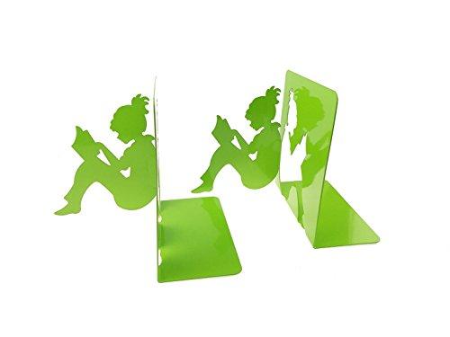 3D 切り絵 本を読んでいる女の子 金属製 ブックエンド 本立て ブックスドッパー ブックス タンド ブックオーガナイザー 学校 部屋 卓上収納 机と本棚の飾り物 置物 インテリア (グリーン)