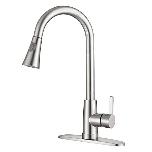 TURS Kitchen Faucet with Pull Down Sprayer Single Lever Sink Mixer with Retractable Pull-Out Wand Brushed Nickel Finish,FK-YT141BR