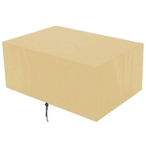 Cubierta para muebles de jardín, Beige, 244x244x30cm, impermeable, a prueba de viento, anti-UV, cubierta de mesa rectangular de tela Oxford para exteriores, cubierta para muebles para sofás y sillas
