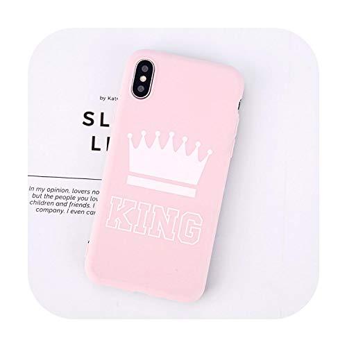 Cover per iPhone 11 6 S 7 8 Plus X, motivo: Lettera King Queen Corona morbida TPU Silicone Cover per iPhone 7 Retour Cas-Pink King-For iPhone 6 6S