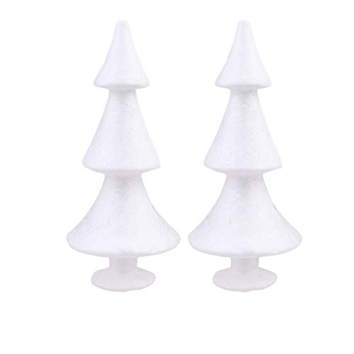 Amosfun 2pcs Foam Small Desk Christmas Tree Ornaments Styrofoam Shapes White Styrofoam Cones for DIY Crafts Christmas Table Decorations Flower Arrangements