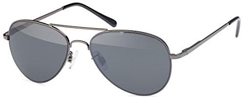 FEINZWIRN Pilotenbrille Sonnenbrille für schmale Gesichter Köpfe inkl Brillenbeutel (Smoke-anthrazit)