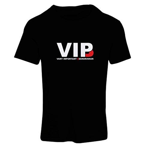 lepni.me Camiseta Mujer Bebedor de Cerveza Muy Importante - Alcohol, Borracho, Citas Divertidas para Beber - Ideas de Regalos chistosos, Ropa de Bar o de Fiesta (Small Negro Blanco)