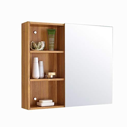 Spiegelschränke Edelstahl Badschrank Toilettenschrank Spiegel Bevorzugte Platte Bad Badezimmerspiegel Lagerung Wandlagerung Lagerung (Color : Wood, Size : 60 * 60 * 15cm)
