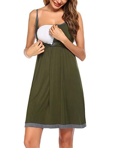 Balancora - Camisón de lactancia de manga corta para mujeres embarazadas y lactancia, tallas S-XXL M verde militar L