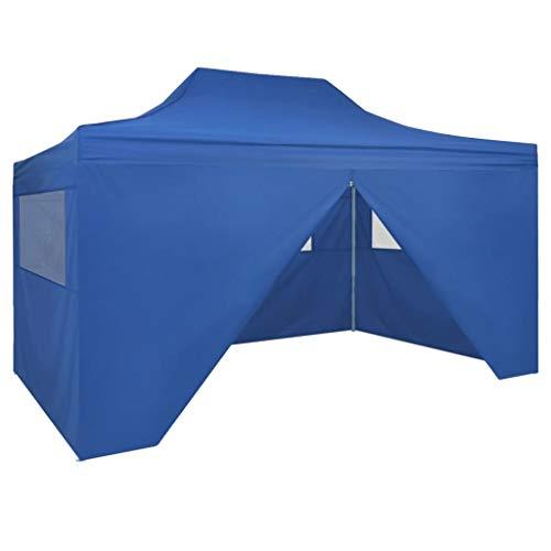 vidaXL 42512 Faltzelt mit 4 Seitenteilen 3x4,5m Blau Gartenzelt Partyzelt Festzelt, Gewebe, One Size