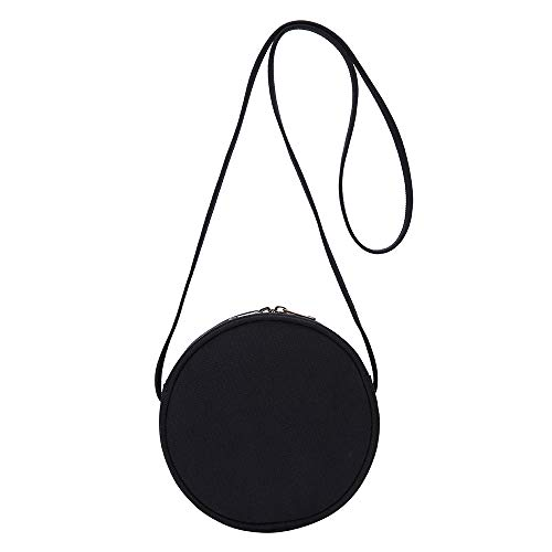 Canvas Small Crossbody Bags for Women Circle Purse Shoulder Round bag (Black)