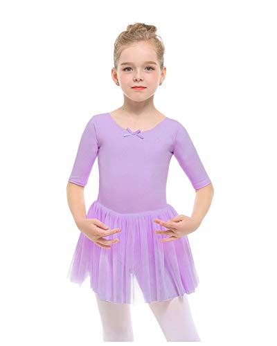 STELLE Toddler/Girls Cute Tutu Dress Ballet Leotard for Dance, Purple, S(4Y)
