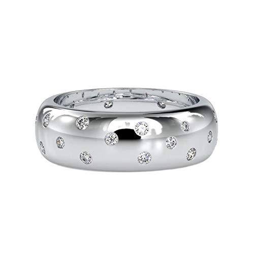 Diamondrensu 0,74 CTW FG/VVS1 Moissanite a filo da 0,74 CTW, fascia per matrimonio con regolazione gitana, comoda da indossare, anello di fidanzamento e Argento, 9.25, cod. UKVT-0019-09SW-9.25