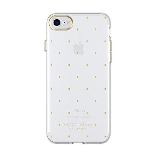 Sugar Paper - Carcasa para iPhone 8 y iPhone 7, diseño de Lunares, Color Dorado metálico y Transparente
