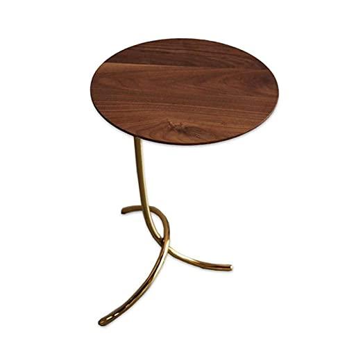 DJDLLZY Mesa industrial de madera sólida del sofá de la mesa de centro de las mesas finales para la sala de estar, redonda