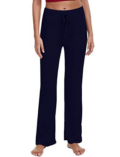 Irevial Pantalones de Yoga para Mujer Modal,100% Algodon,Alta Cintura Elásticos pantalón de Campana con cordón, Casuales…